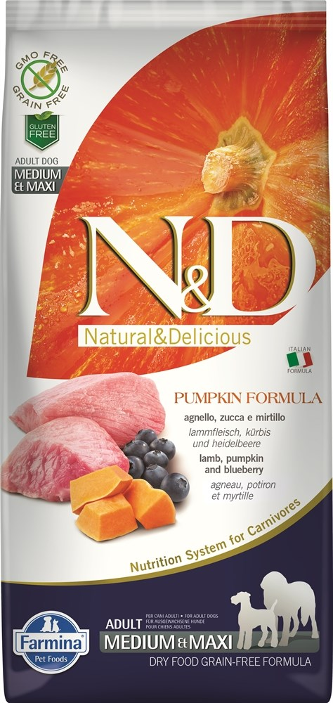 """N&D"" Dog Pumpkin Lamb & Blueberry ADULT Medium&Maxi ягненок с черникой для взр собак от зоомагазина Дино Зоо"